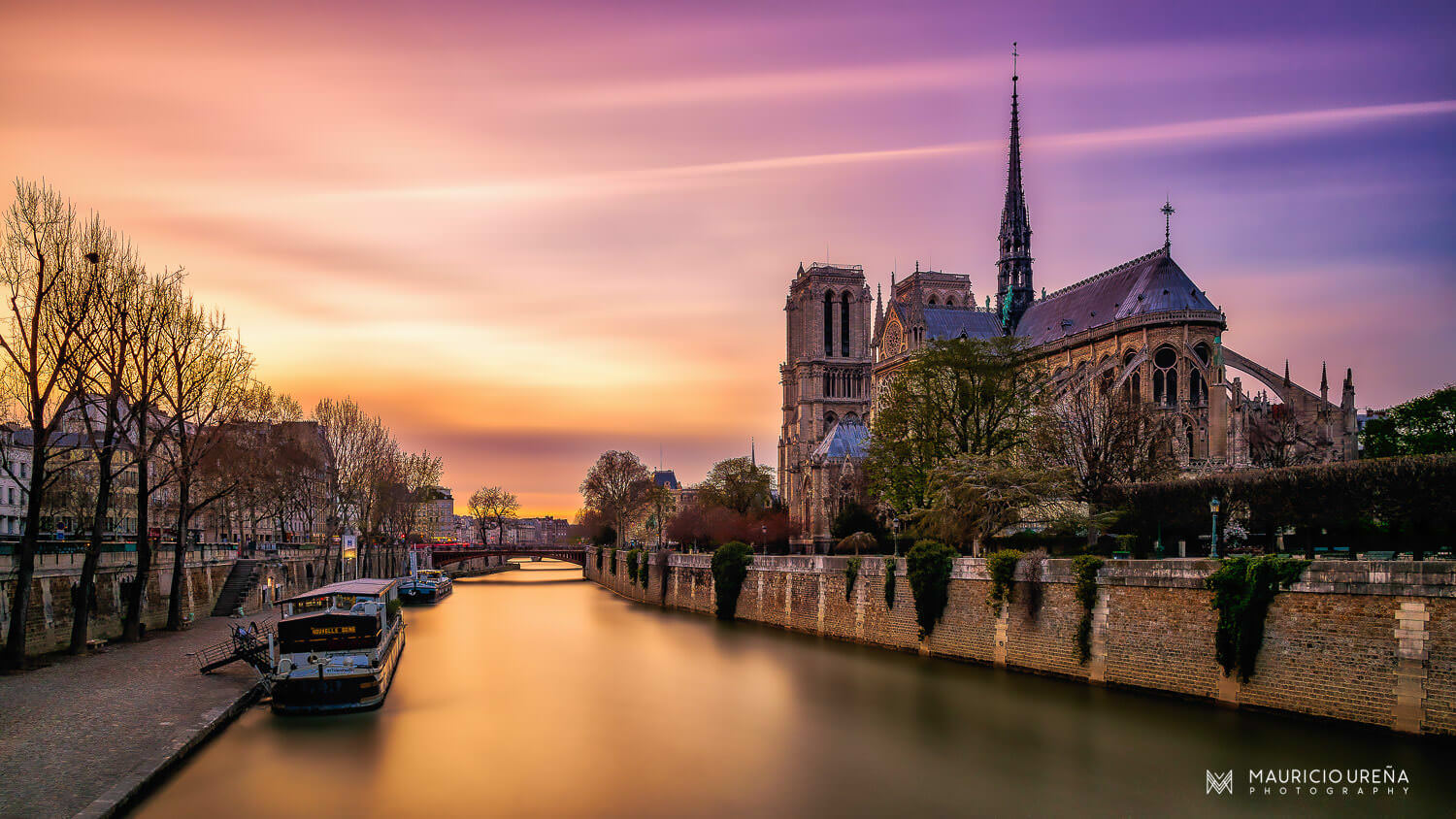 Notre Dame Cathedral Long Exposure Sunset Travel Wall Art | Travel Photography